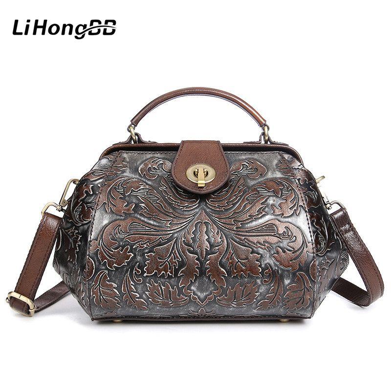 Fashion Floral Printing Ladies Handbag Genuine Leather Women Small Tote  Bags Female Vintage Messenger Bags Women s Bag With Lock c517774ebbb6d