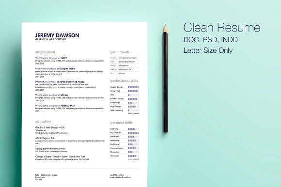 Clean Style Resume by Design by Mike Kondrat on @creativemarket - resumes by design
