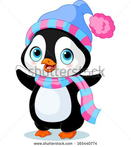 cute winter penguin with hat and scarf stock vector birthday rh pinterest co uk cute penguin clipart black and white cute penguin clipart black and white