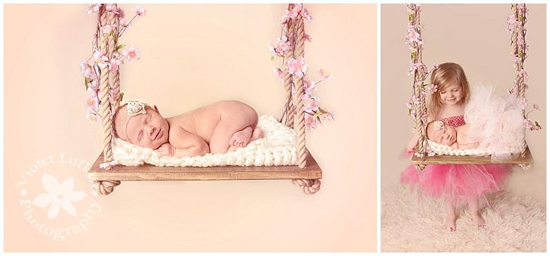 Violet lufkin photography newborn photography newborn and sister newborn on swing