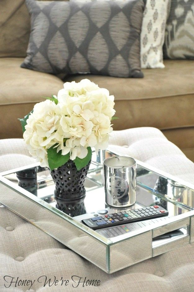 Large Rectangular Mirrored Decorative Tray Available At Www Rachelgeorge Com Ottoman Decor Coffee Table Tray Decor