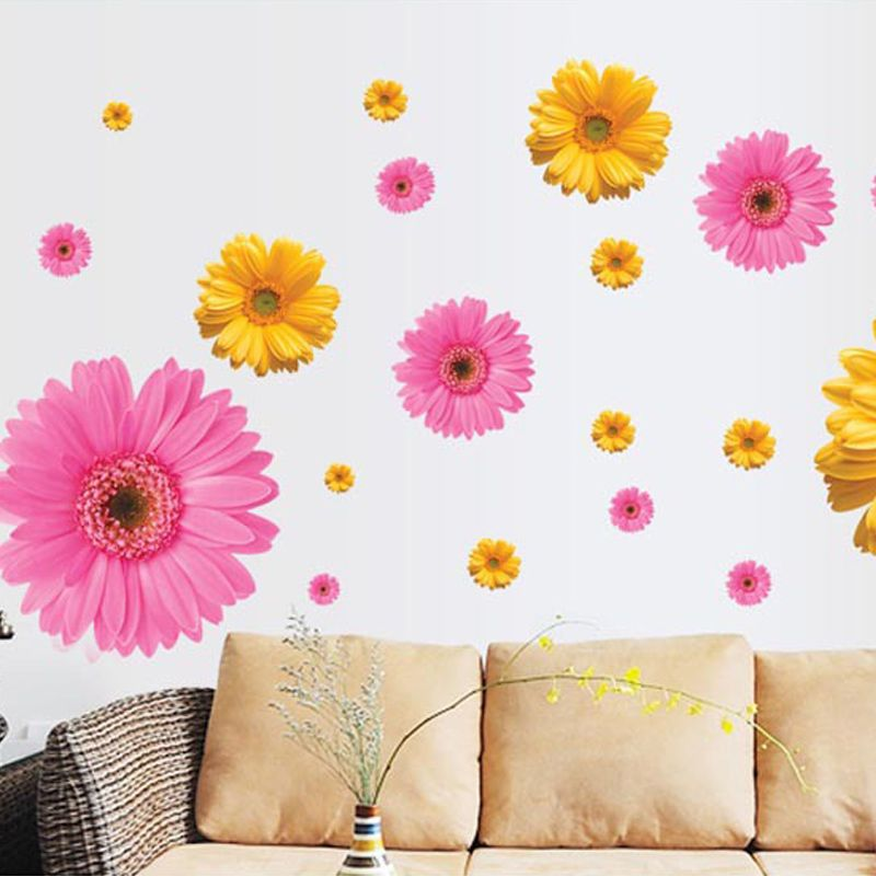 Removable Wall Sticker PVC 3D Daisy Mural Home Art DIY Living Room Decal New