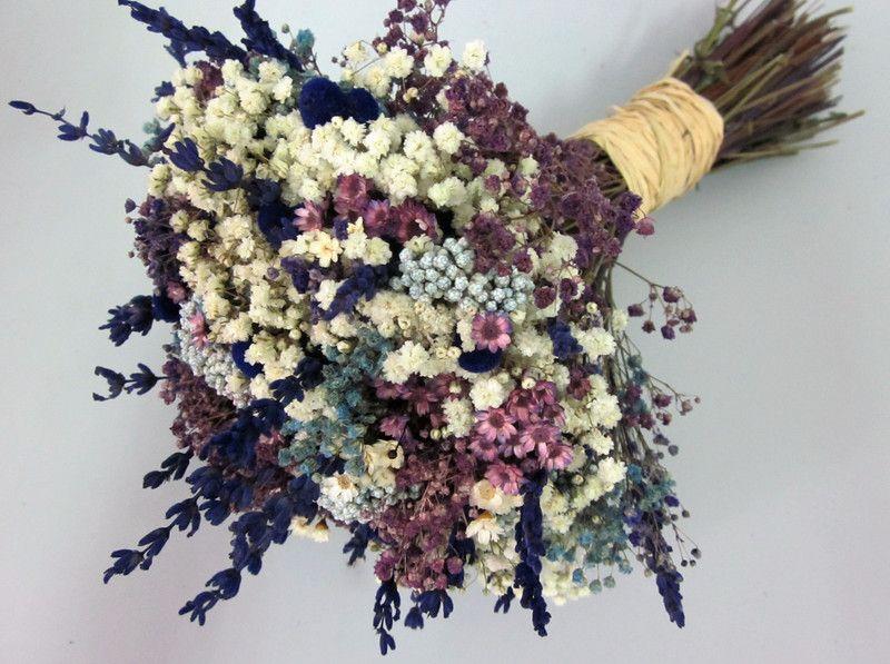 Ramo de novia blanco, azul y morado Flores secas, Ligeros y Lavanda - flores secas