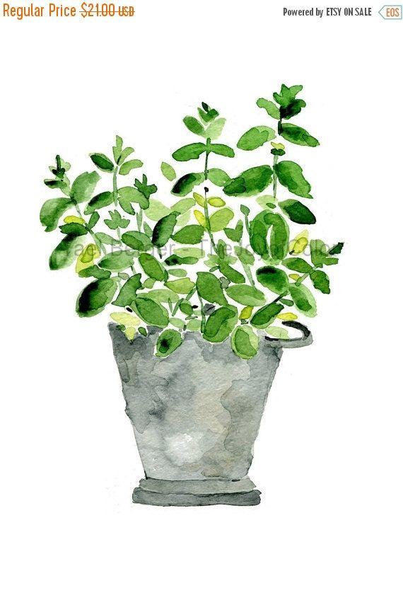 Plant de menthe dans un pot d'étain impression par TheJoyofColor