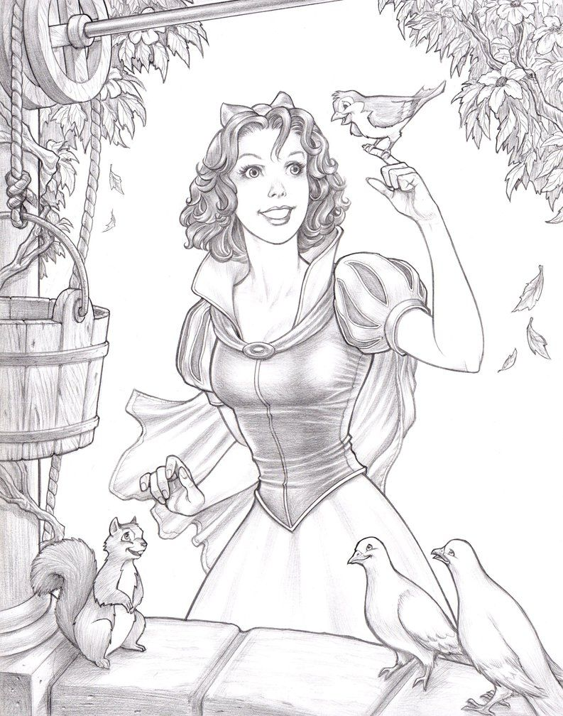 Snow White And The Wishing Well By Clubmadness On Deviantart Disney Princess Snow White Disney Drawings Disney Princess Drawings