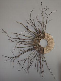 branches + cardboard/twine base + glue gun = wreath/art (Merrill + her list making life.: Branch art)
