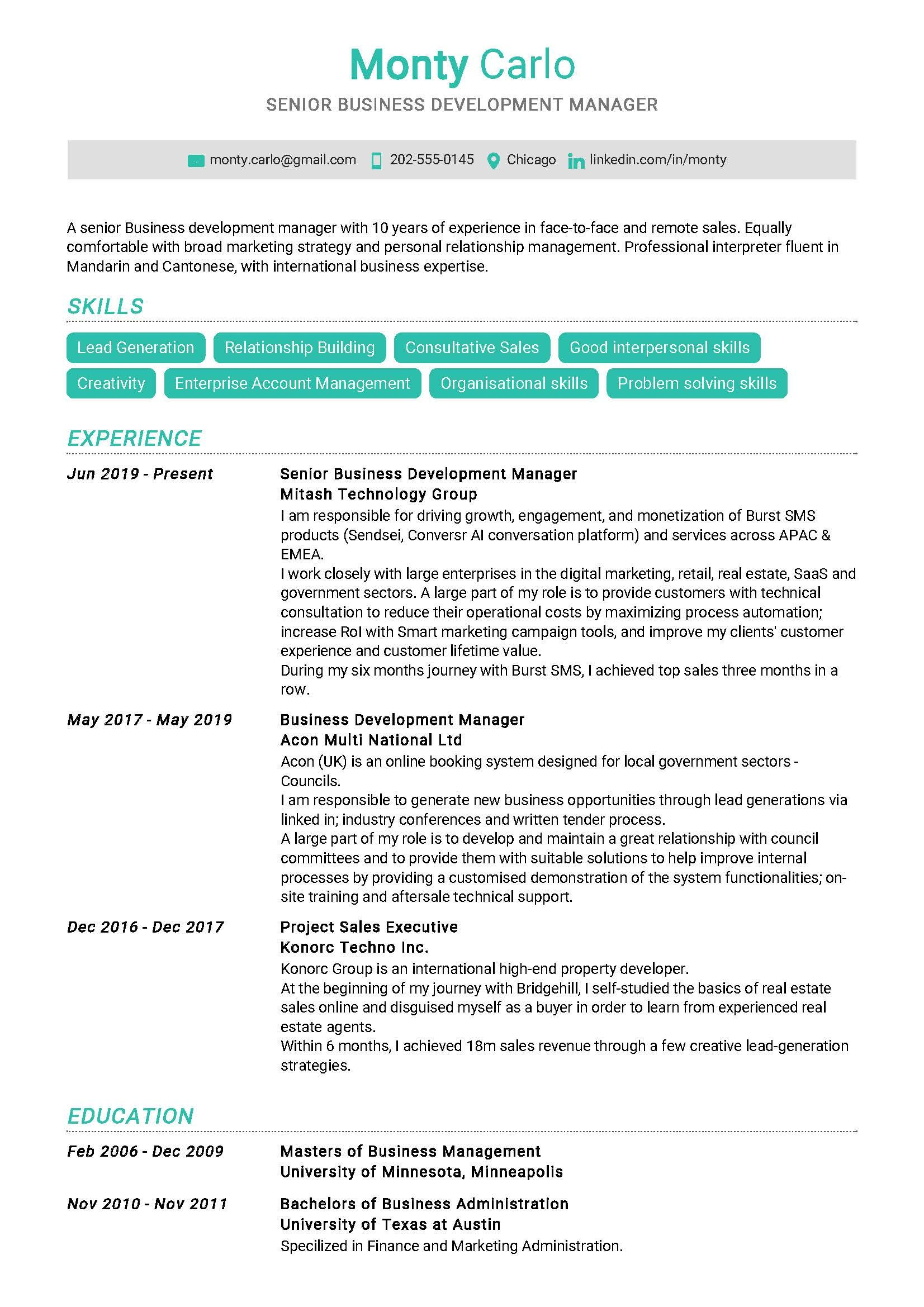 Senior business development manager sample resume in 2020