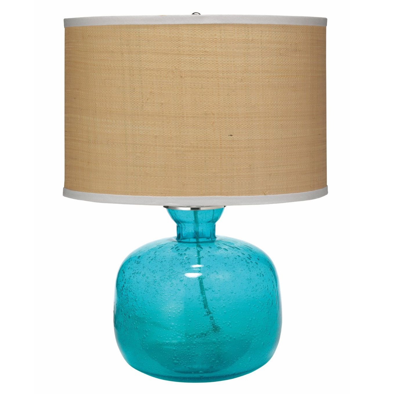 Blue glass table lamps  The aqua Jug table lamp base by Jamie Young lights up in colorful