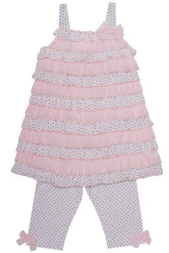 Black Kate Mack Girls 2-6X Jenny Annie Dots 2 Piece Polka Dot and Ruffle Skirted Swimsuit in White
