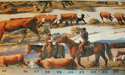 Western Cowboy Quilting Fabric Large Steer Scenic Print Cattle ... : western quilting fabric - Adamdwight.com