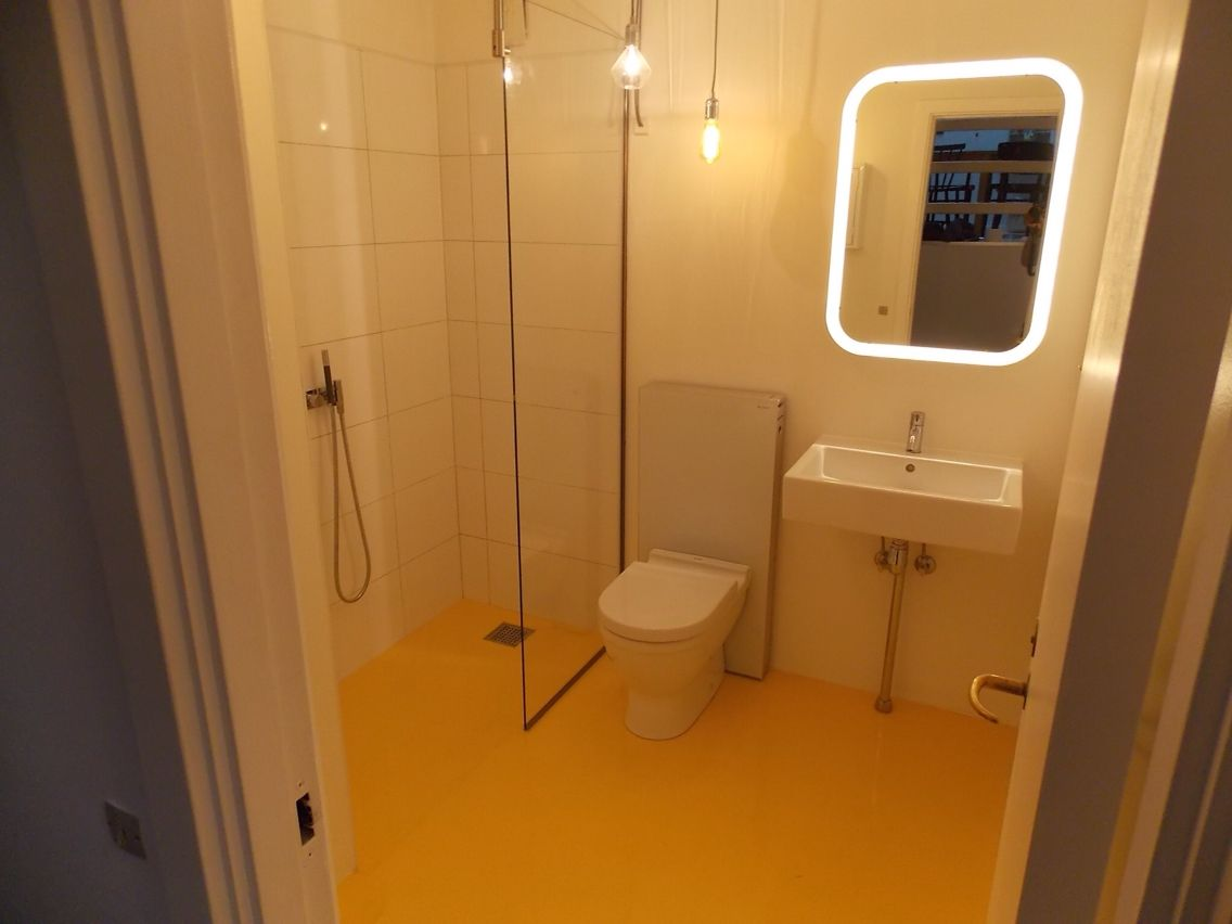 Total Bathroom Renovation Yellow Epoxy Floor For The Home - Total bathroom renovations