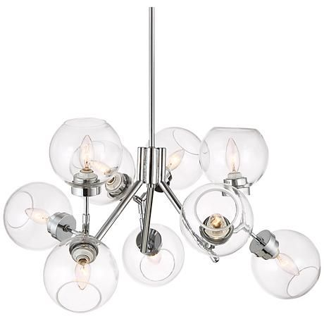 Possini Euro Diamet 27 12w Chrome Glass 9 Light Pendant