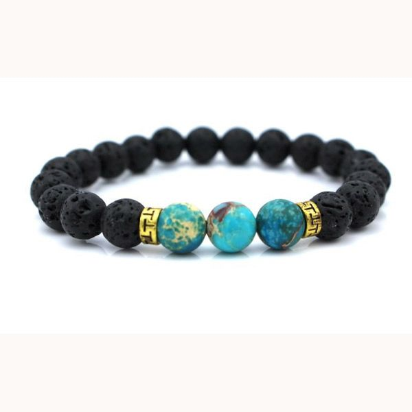 Masculine Men S Bracelet With Black Lava Rock Beads And A