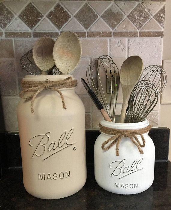 extra large mason jar utensil holder set farmhouse kitchen kitchen jars extra large mason on farmhouse kitchen utensils id=23180
