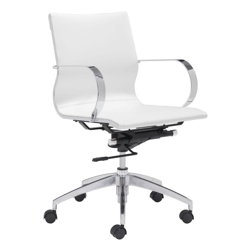 Glider Leatherette Low Back Office Chair In White