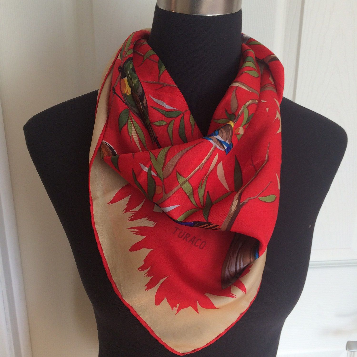Christinedecor Shared A New Photo On Etsy Vintage Silk Square Silk Scarf Vintage Scarf
