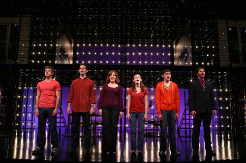 Next to Normal- Aaron Tveit (Gabe), J. Robert Spencer (Dan), Alice Ripley (Diana), Jennifer Damiano (Natalie), Adam Chanler-Berat (Henry), and Louis Hobson (Dr. Fine/Dr. Madden)