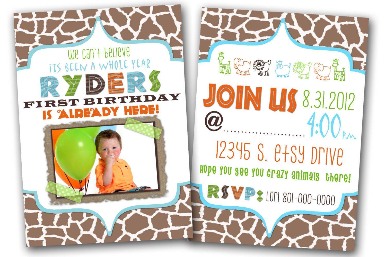 Safari birthday party invitation. | Party Ideas | Pinterest | Safari ...