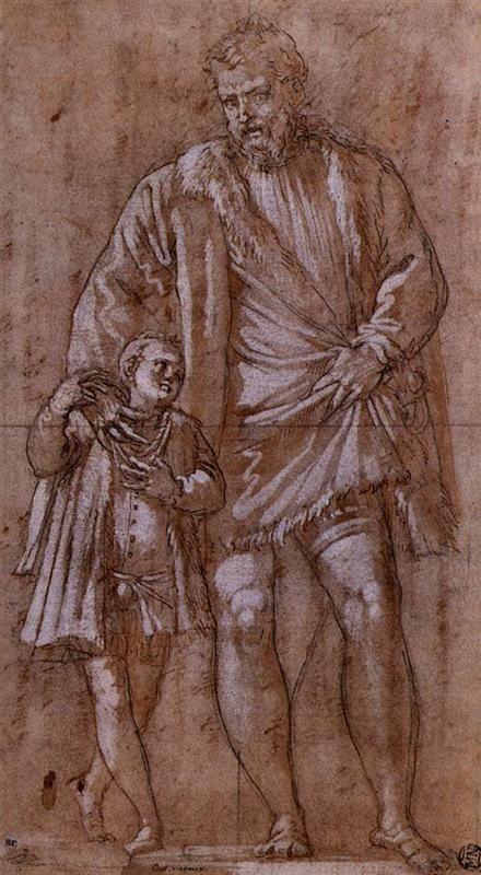 Paolo Veronese -Iseppo  e Adriano da Porto  c. 1551,penna e gesso su carta colorata,342 x 181 mm , Musée du Louvre, Parigi