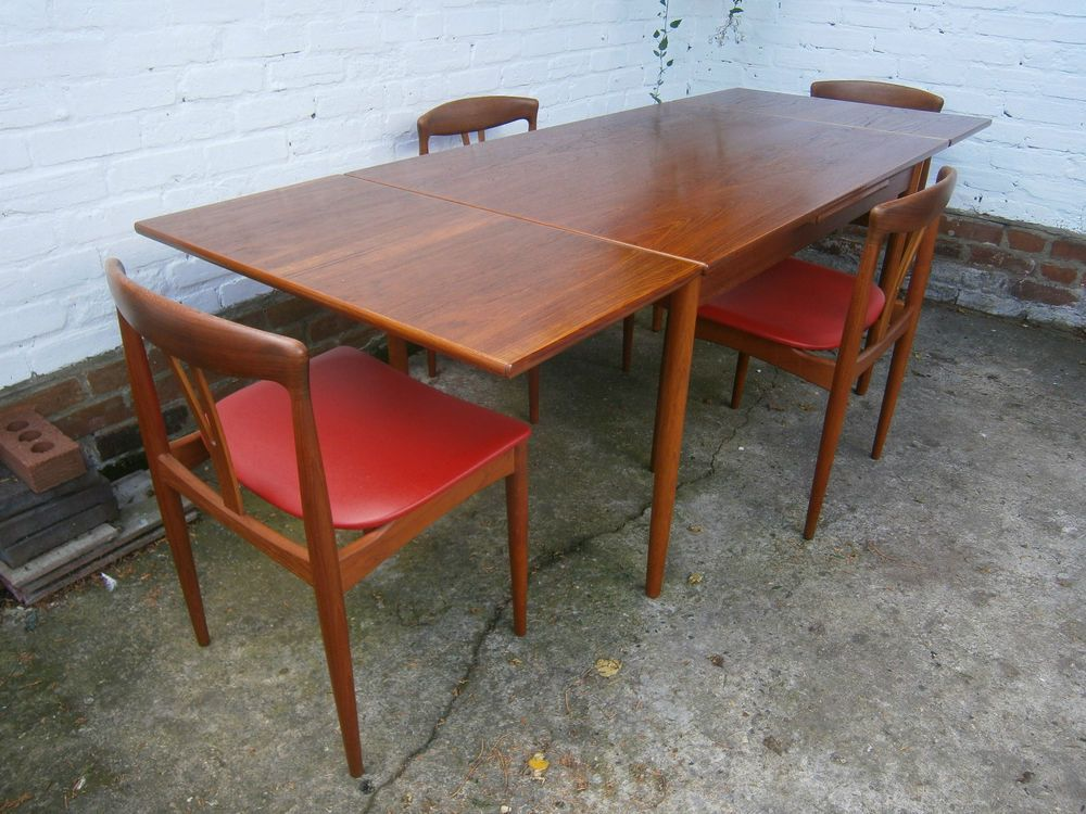 Danish Teak Table And Chairs Vamo Sonderborg Johannes Andersen Mid Century