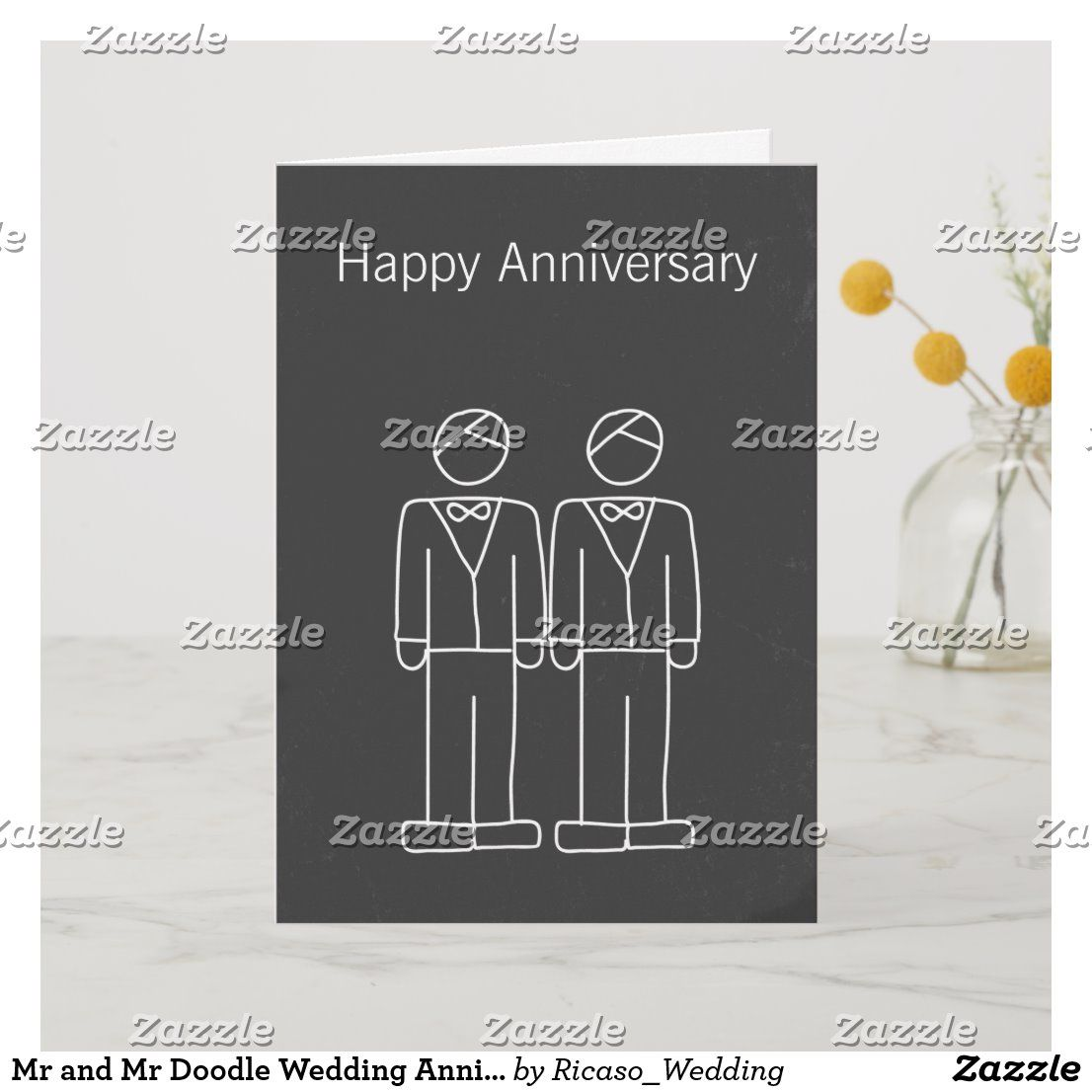 Mr And Mr Doodle Wedding Anniversary Card Zazzle Com Wedding Congratulations Card Doodle Wedding Wedding Anniversary Cards
