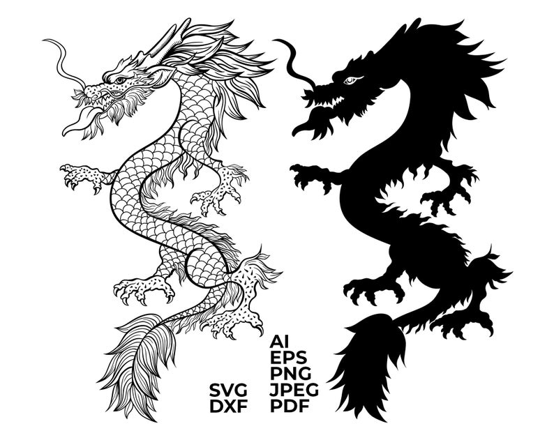 Chinese Dragon Svg Chinese Dragon Vector Dragon Tattoo Etsy In 2021 Chinese Dragon Dragon Illustration Dragon Silhouette