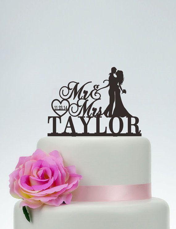 Pastel de cumpleaños, Señor y señora torta con apellido, corazón Topper, Topper de la torta personalizado, personalizado pastel de cumpleaños, fecha pastel Topper C118