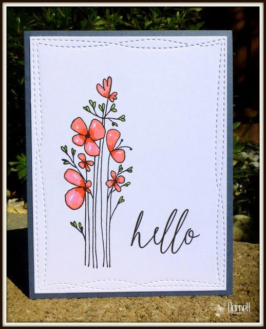 handmade cards ideas simple flower greeting card for any