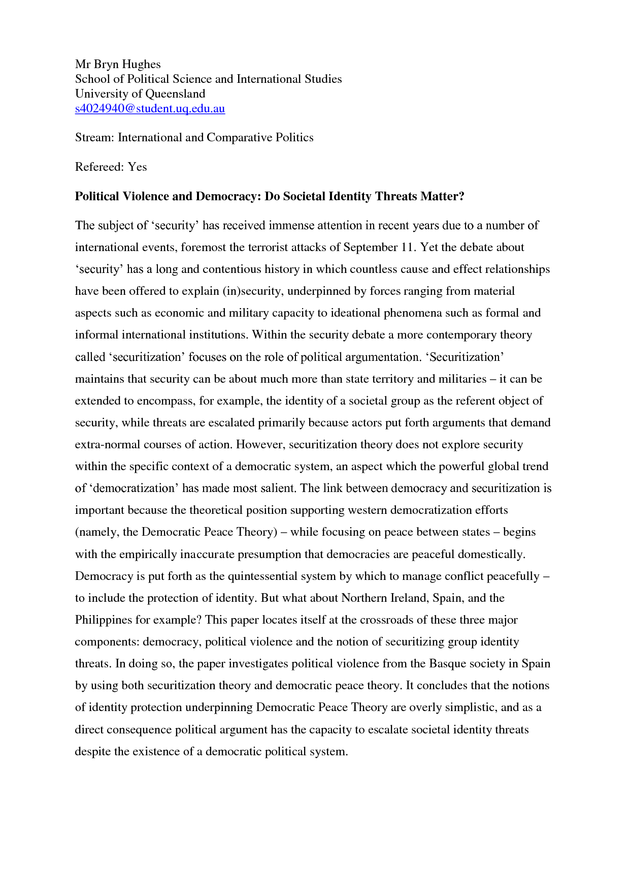 apsa format example paper