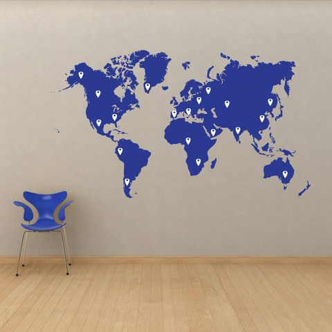 World map pin drops decal 873 wall decals wall art decal and vinyl wall decal sticker world map with pin drops 873 stickerbrand wall art decals gumiabroncs Images