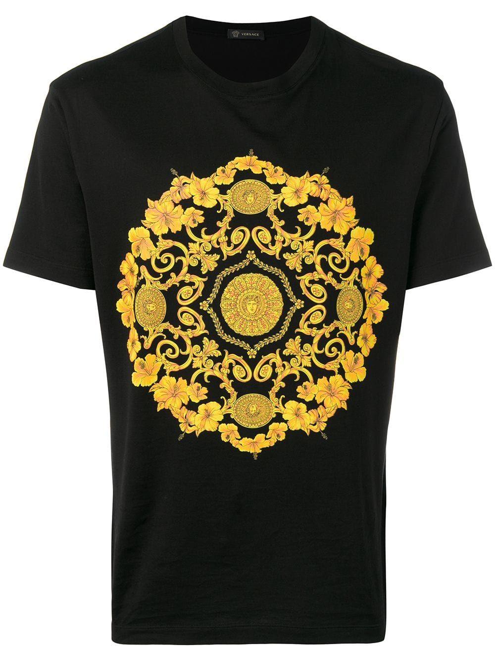 Gold Hibiscus Motif Slim Fit T Shirt In Black Versace Print T Shirt Versace Men