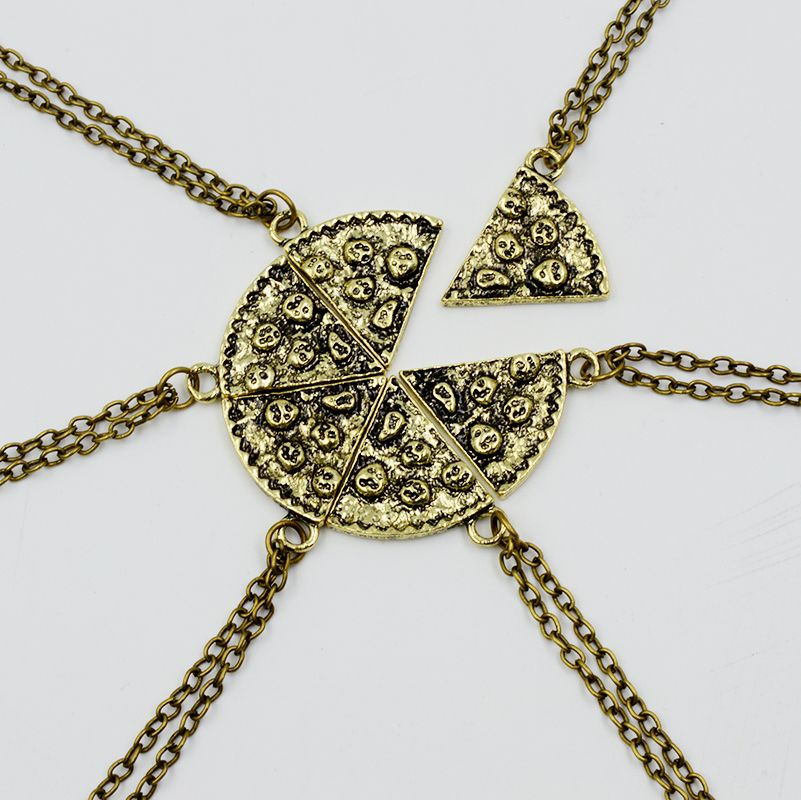 Slice Of Pizza Charms Choker 6 pcs Charms Antique Necklace For Women Vintage Food Chain Jewelry Best Friend Friendship Gift-in Pendant Necklaces from Jewelry & Accessories on Aliexpress.com | Alibaba Group