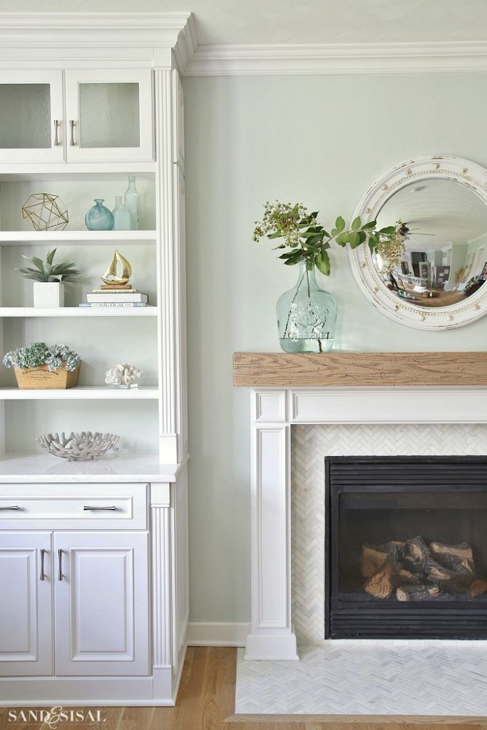 Photo of Coastal Family Room and Fireplace Makeover – Sand and Sisal