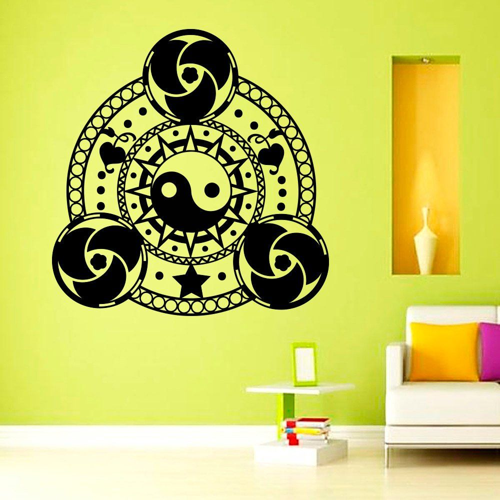 Wall Decals Vinyl Sticker Mandala Decal Yin Yang Ornament Indian ...