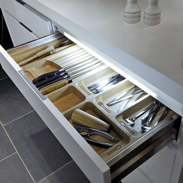 Led Lights In Kitchen Cabinets: HD LED Drawer Light. Using LUMILUM LED Cool White Strip