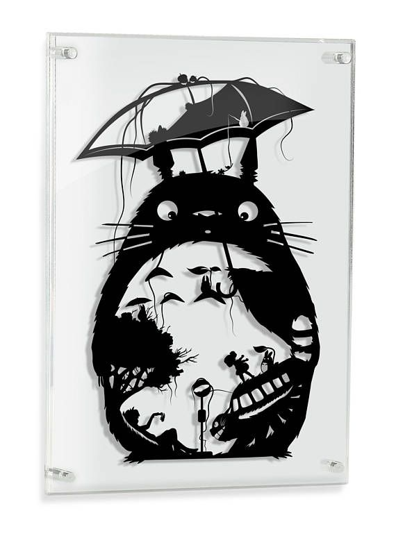 UMRAHMT von mein Nachbar Totoro Kunst Studio Ghibli Miyazaki Papercut Anime Mei Satsuki Katzenbus Ruß Sprite Wald Geist Geek Geschenk Ghibli Home Decor