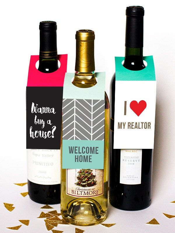 Realtor Real estate agent water bottles wine gift FREE SHIPPING open ...