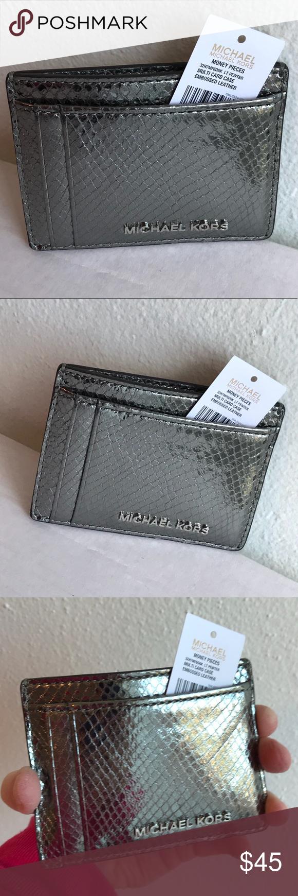f2d70558da74b4 Michael Kors Metallic Snake Print Card Holder Beautiful pewter color leather  snake print card holder