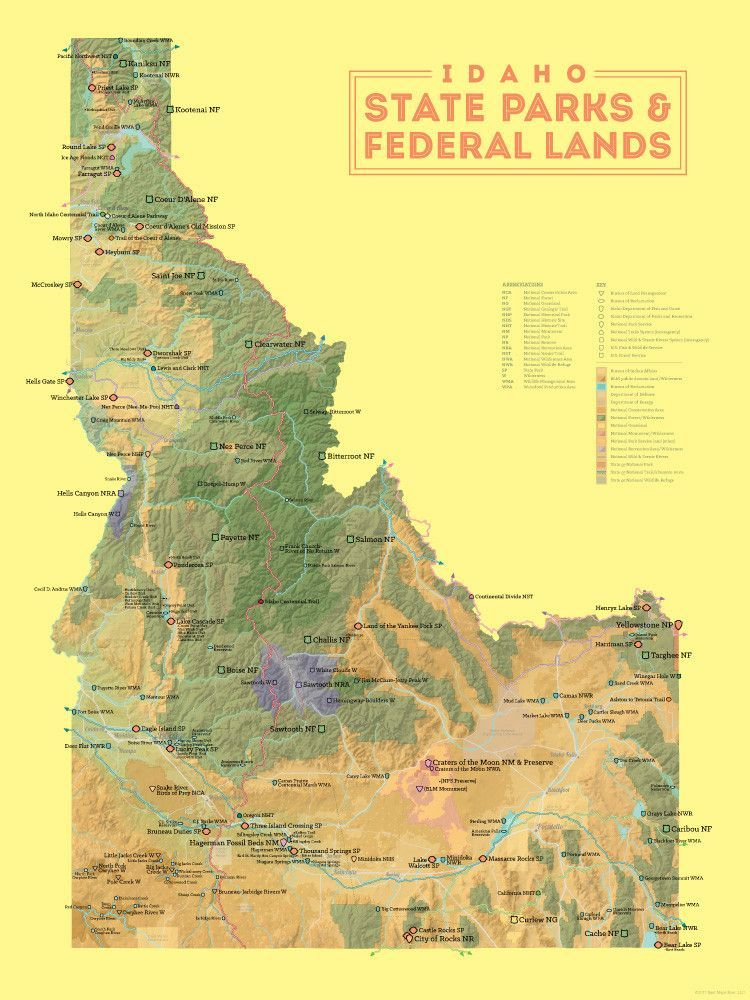 Idaho State Parks Federal Lands Map 18x24 Poster State Parks Idaho Idaho State
