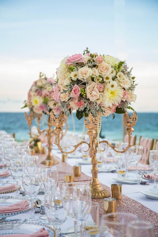 Luxury centerpiece for beach wedding dreamsrivieracancun