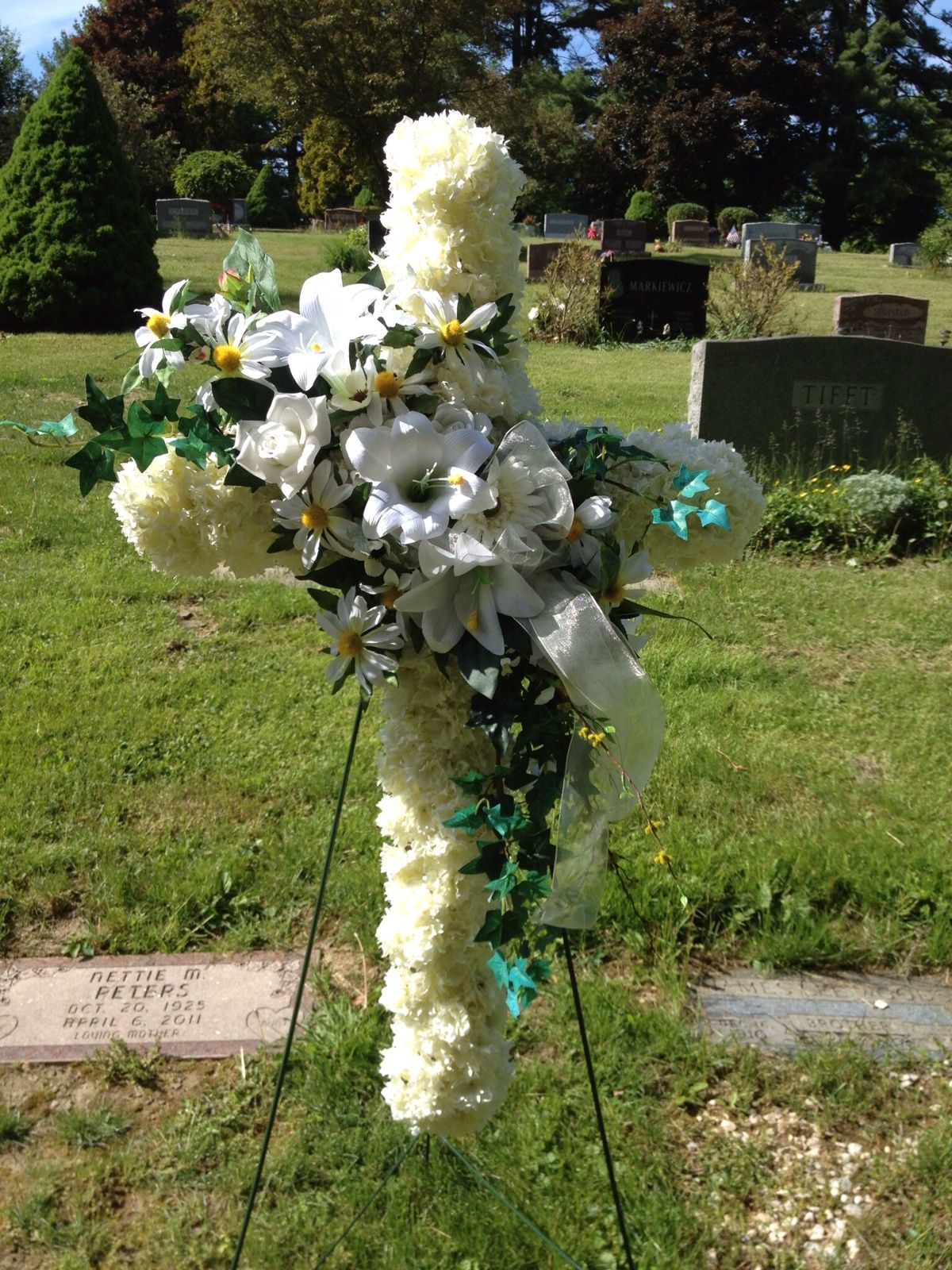 Artificial Flower Cross For The Cemetery Floral Fantasy
