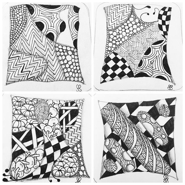 I just started to learn the art of #zentangle and this is a collage of my first four tangles, working through my #tangleaday kit. I'm pleased with how my skill is developing!  #instadraw #instadrawing #sketch #art #doodle #doodlegalaxy #meditation #arttherapy #abstract