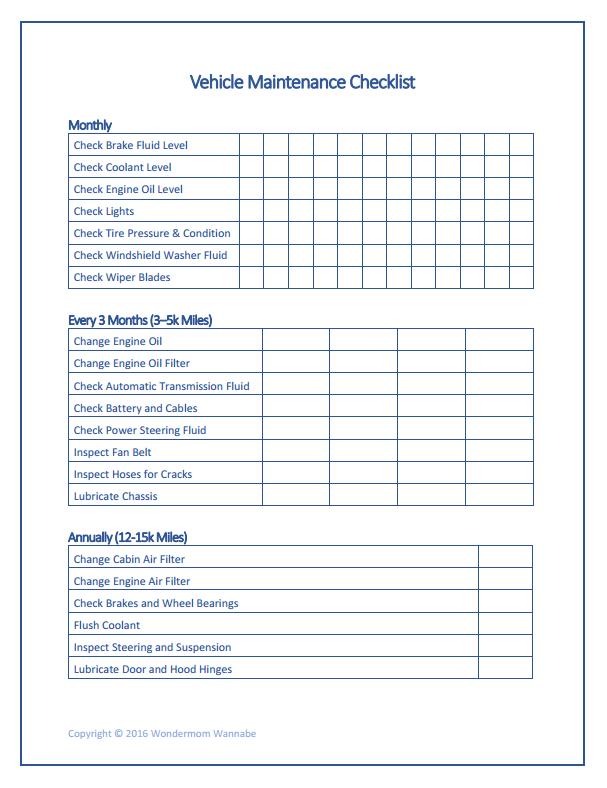 Vehicle Maintenance Checklist Homestead Pinterest