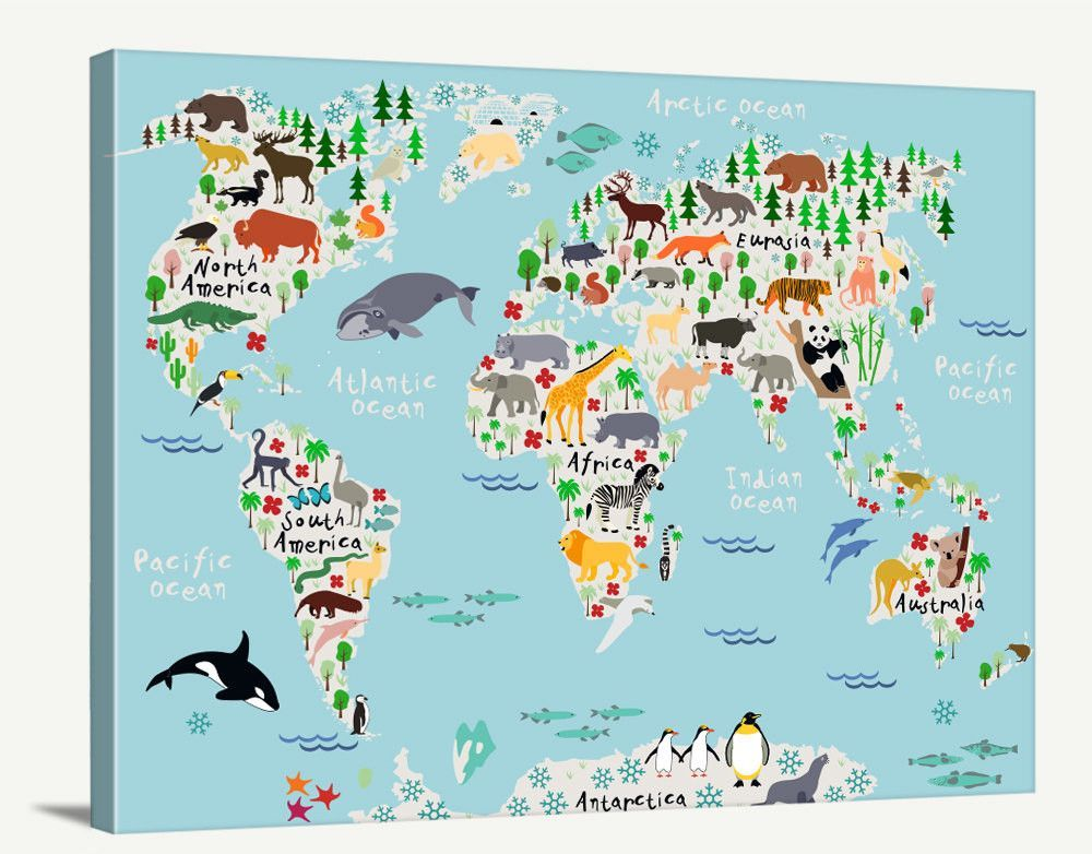 World map art animal world map for kids room nursery world map world map art animal world map for kids room nursery world map print gumiabroncs Gallery