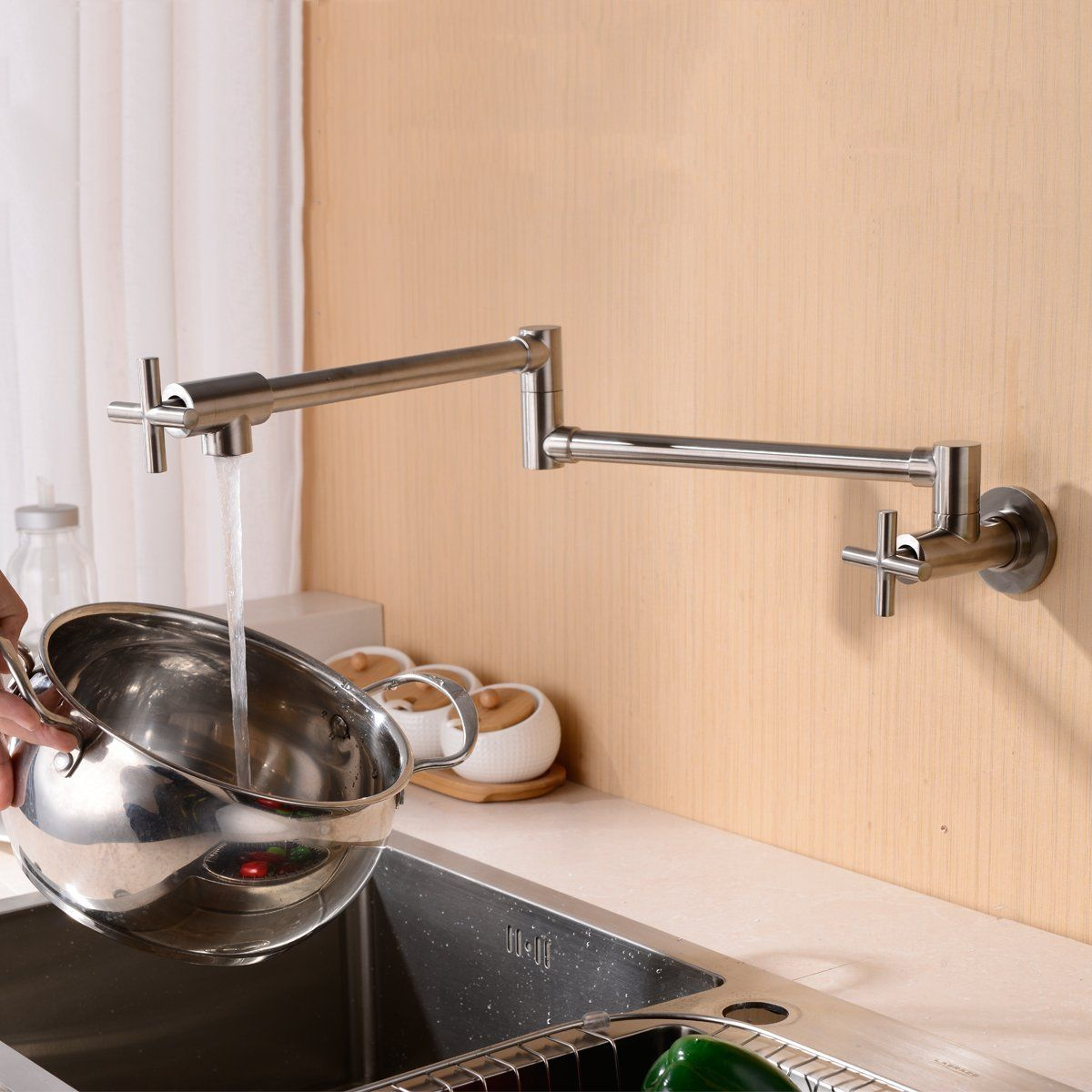 Lead Free Brass Construction Pot Filler Wall Mounted Kitchen Sink Faucet With Double Joint Swing Arm Single Col Kitchen Sink Faucets Pot Filler Kitchen Faucet