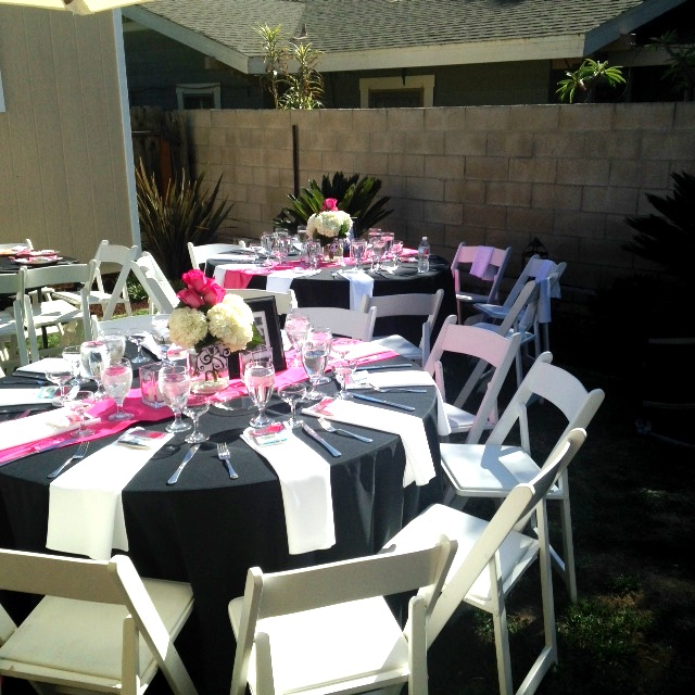 1950s Theme Party. 65th Anniversary Party. Pink White Black table setting. & 1950s Theme Party. 65th Anniversary Party. Pink White Black table ...
