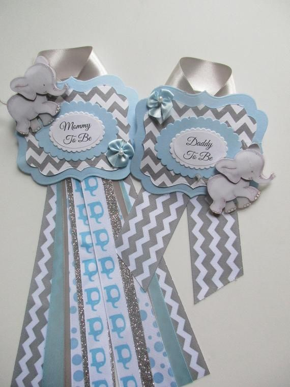 Mommy And Daddy To Be Elephant Baby Boy Shower Corsage Set