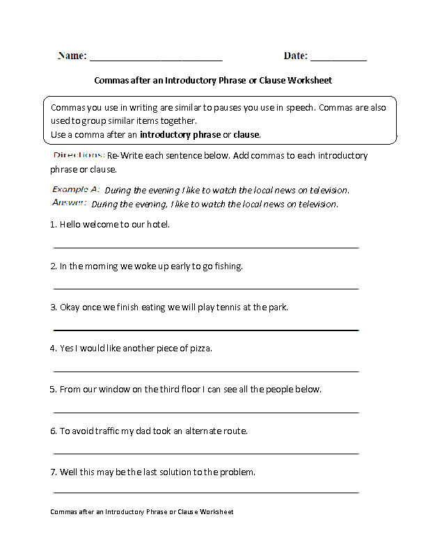Commas After Introductory Phrase Or Clause Worksheet Classical
