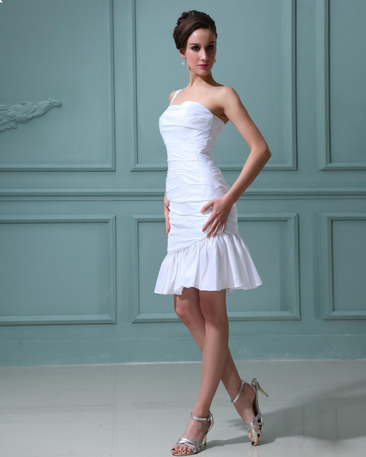 Taffeta Ruffle One Shoulder Sweetheart Short Mini Wedding Dress ...
