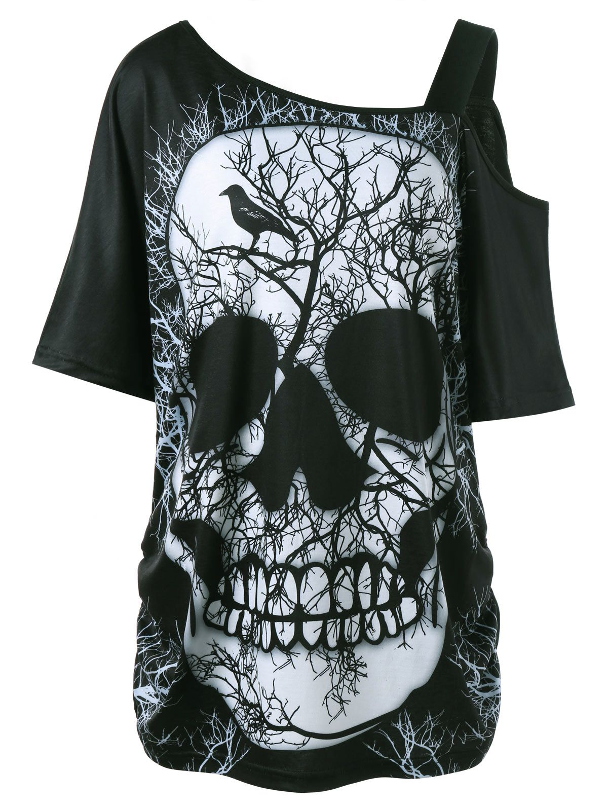 Plus size skew collar skull tshirt black clothes and costumes